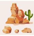set of desert rocks cartoon isometric 3d flat vector image