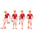 set of soccer football player in different vector image