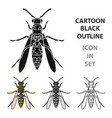 wasp icon in cartoon style isolated on white vector image