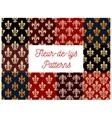 Fleur-de-lis heraldic royal floral patterns set vector image