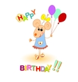 baby mouse happy birthday greeting card vector image