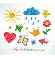 Summer felt pen child drawing vector image