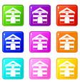 cat house icons 9 set vector image