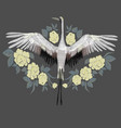 embroidery embroidered design element - bird - vector image