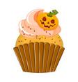 halloween purple cupcake on vector image