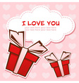 Love invitation card with colorful gift boxes vector image