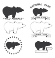 set of icons with the image of a bear vector image