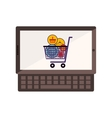 tablet and keyboard with full shopping cart vector image