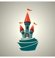 Cartoon fortified castle with flags Icon vector image