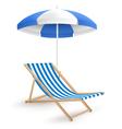 Sun beach umbrella with beach chair isolated on vector image