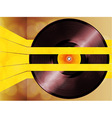 Vinyl record glowing on yellow stripes vector