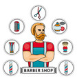 hand-drawn barbershop set with barber and tools vector image