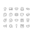 Line Dish and Plates Icons vector image
