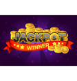 logo text jackpot and gold coins for ui game vector image