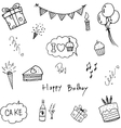 Set doodle birthday party vector image