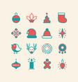 set of christmas design stylish decorative icons vector image