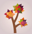tree with leaves on purple background vector image