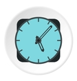 Wall mounted round clock icon flat style vector image