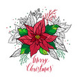 christmas card of poinsettia with hand drawn vector image