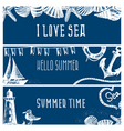 Set of hand drawn sea themed banners vector image