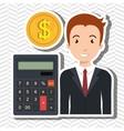 man calculator coins dollar vector image