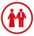 newlyweds rounded icon vector image