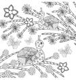 Snails and butterflys in fantasy flower garden vector image