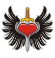 Wings heart and sword vector image