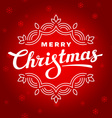 Merry Christmas lettering card with snowflakes vector image