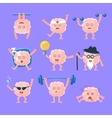 Humanized Brain Doing Different Activities Set Of vector image