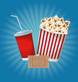 color background with popcorn pack and soda ticket vector image