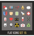 Flat icons set 15 vector image