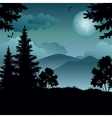 Landscape trees moon and mountains vector image vector image