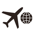 Plane and globe icons vector