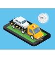 Car towing truck online roadside assistance vector image