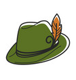 green hat with small yellow feather isolated vector image