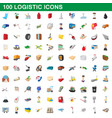 100 logistic set cartoon style vector image