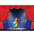 A parrot at the center of the stage vector image