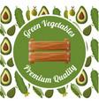 green vegetables premium quality badge vector image