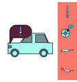 collection of icons and car service equipment vector image vector image