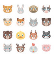 animal muzzle set icons in cartoon style big vector image