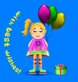 Greeting card with a girl on roller skates vector image