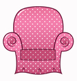 Pink dotted chair clipart isolated on white vector image