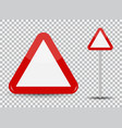 warning road sign on transparent background red vector image