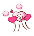 pink hearts pierced by an arrow and small pink vector image