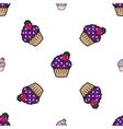 Cream cake purple seamless pattern vector image