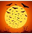 Black bats silhouettes on big yellow moon at vector image
