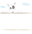 bull terrier cute dog behind wall water color vector image