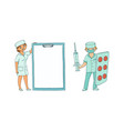 flat male female doctor in medical clothing vector image