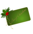 green merry christmas card vector image
